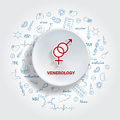 Icons For Medical Specialties. Venerology Concept. Vector Illustration With Hand Drawn Medicine Doodle