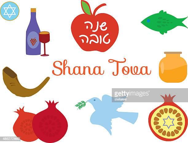 icons for rosh hashana and yom kippur - hebrew script stock illustrations, clip art, cartoons, & icons