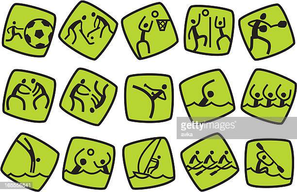 icons for summer sport games. part #2 - naughty america stock illustrations, clip art, cartoons, & icons