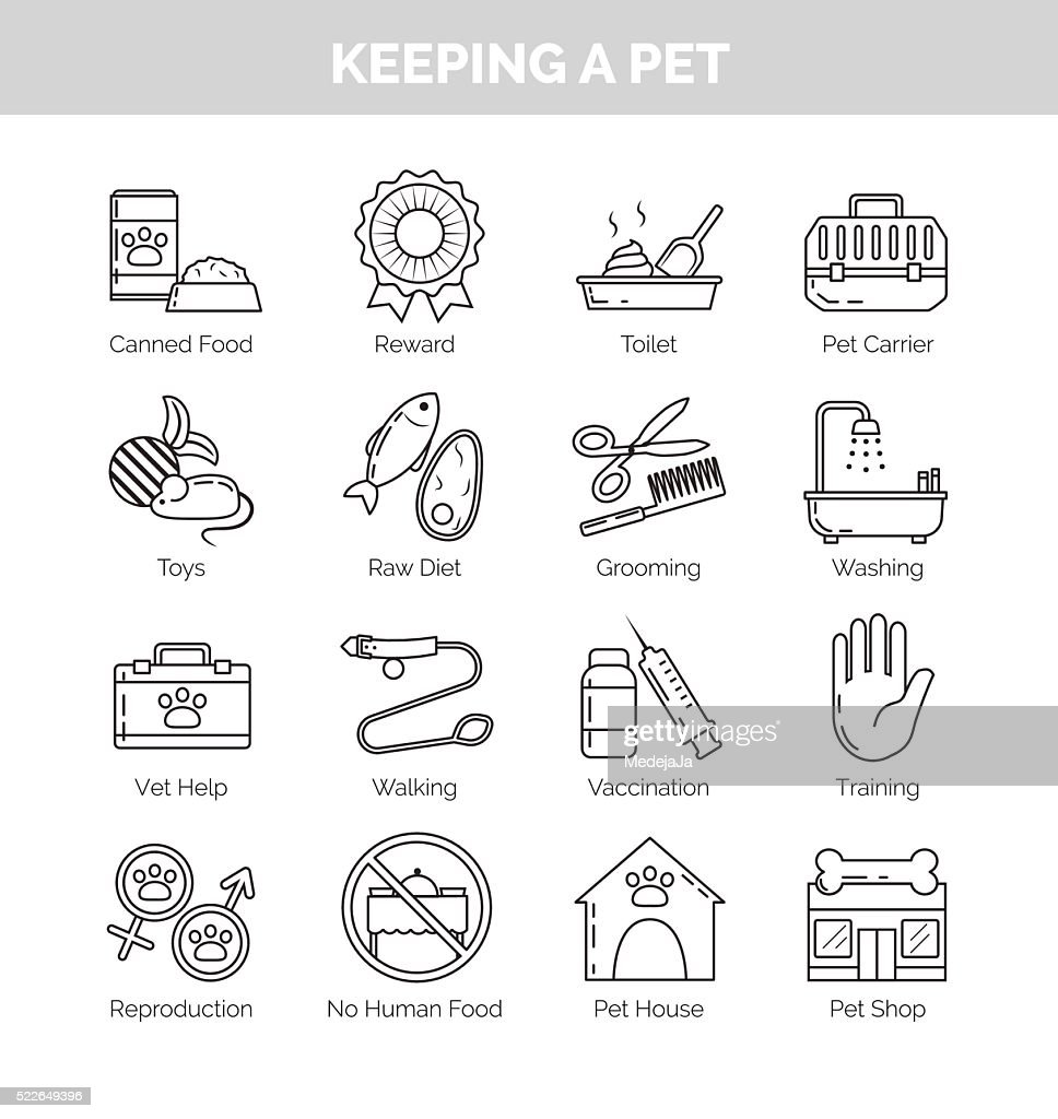Icons for various aspects of keeping pets at home