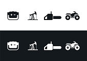 Icons generator, chainsaw, ATV, oil rocking. Set