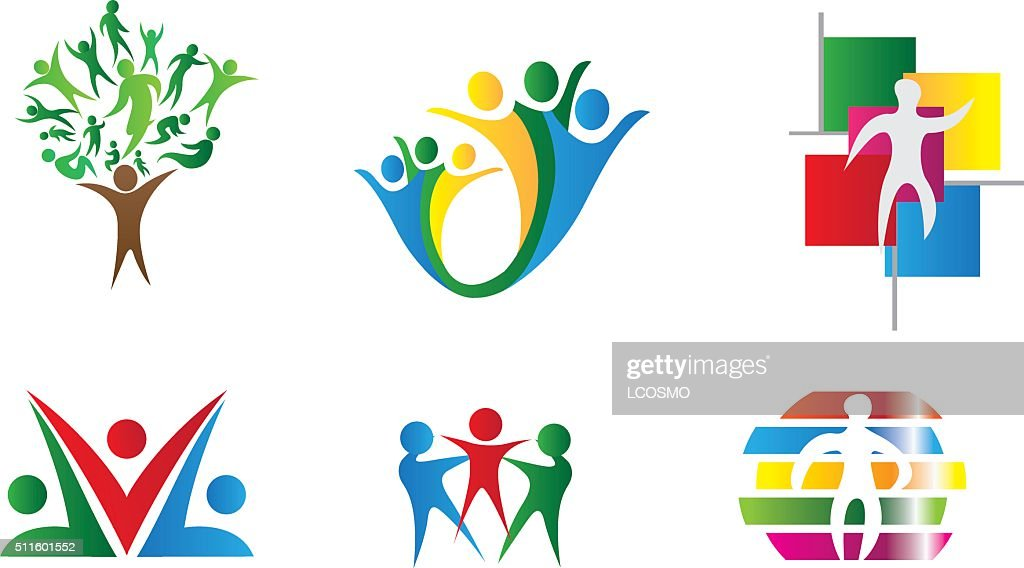 Icons geometric symbols representing union society