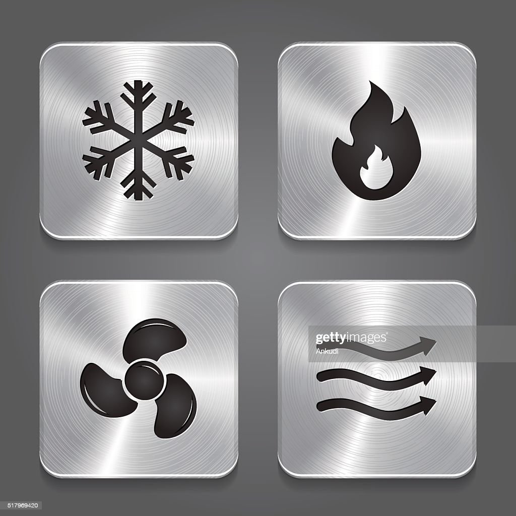 HVAC (heating, ventilating, and air conditioning) Icons. Heating