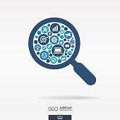 SEO icons in magnifier glass shape abstract background: vector illustration.