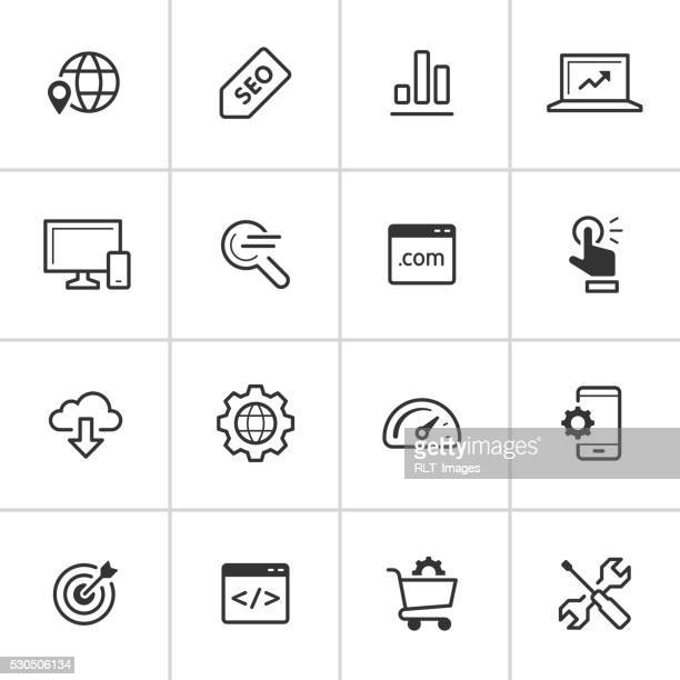seo symbole – tintenblauen serie - responsives webdesign stock-grafiken, -clipart, -cartoons und -symbole