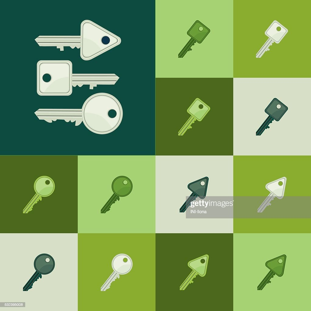 Icons - keys in shades of green.