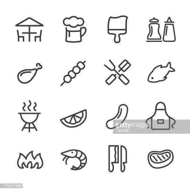 バーベキュー アイコン - ライン シリーズ - エプロン点のイラスト素材/クリップアート素材/マンガ素材/アイコン素材