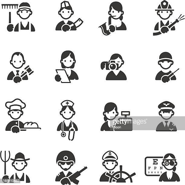 icons of 16 different professions - landscaper professional stock illustrations, clip art, cartoons, & icons