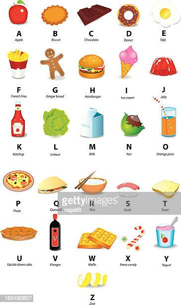 icons of alphabet with food - gelatin dessert stock illustrations, clip art, cartoons, & icons