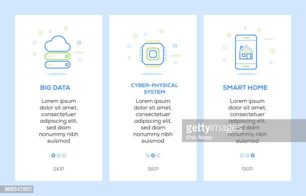 icons of big data, cyber-physical system, smart home. internet of things concept web elements - sensor stock illustrations, clip art, cartoons, & icons