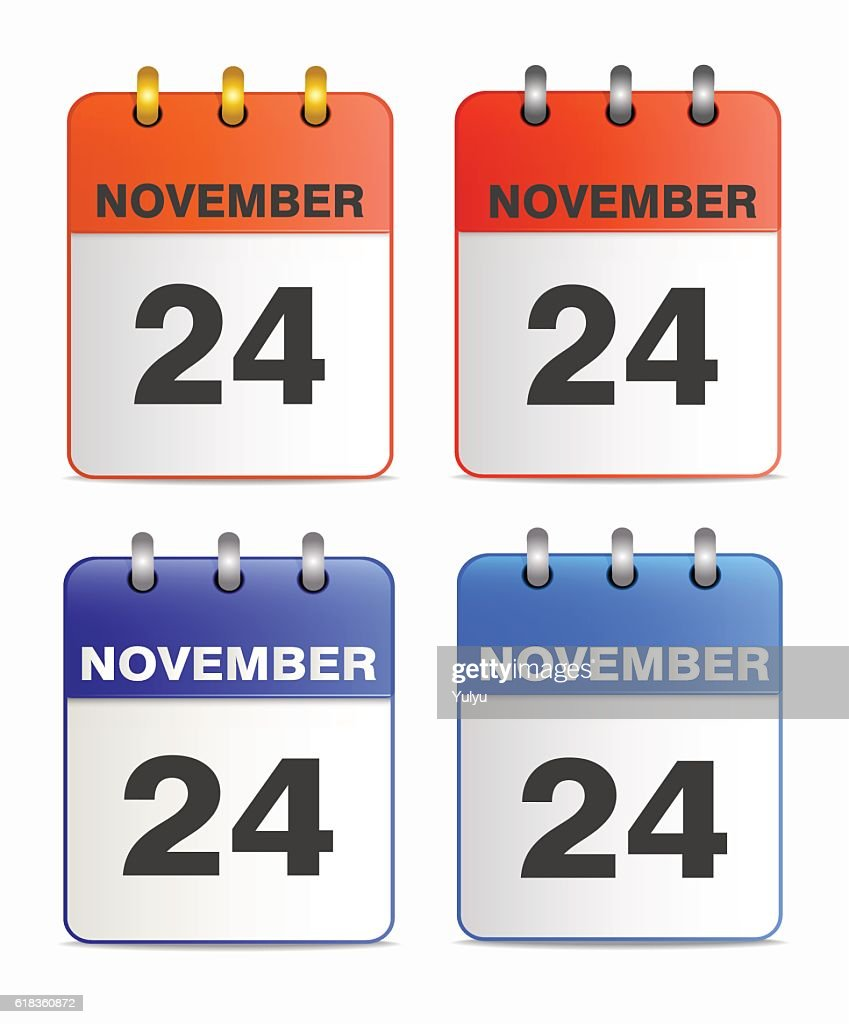 Icons of calendar with  Thanksgiving Day