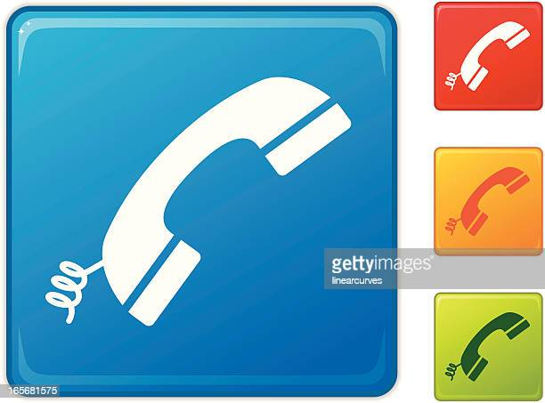 icons of colorful telephone receivers - phone cord stock illustrations, clip art, cartoons, & icons