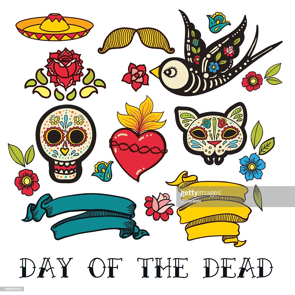 Icons of Day of the Dead sticker