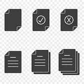 Icons of documents - simple, approved, rejected and also by quantity. Vector on a transparent background