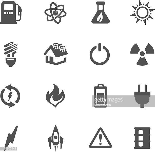 icons of energy symbol made in black and white backboard - start button stock illustrations, clip art, cartoons, & icons