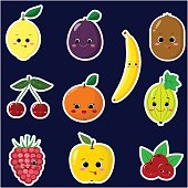 Icons  of  fruit smiley stickers with a white outline in the set.