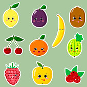 Icons of fruit smiley stickers with a white outline in the set
