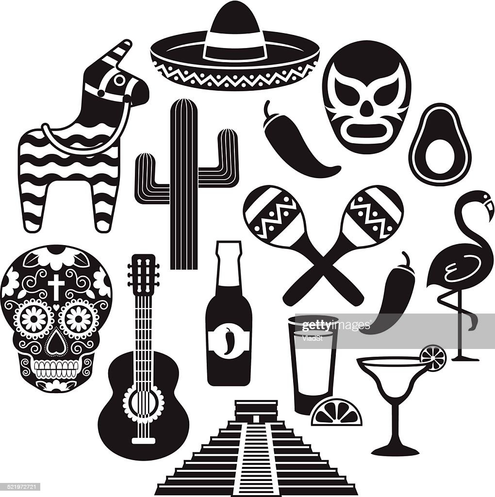 Icons of Mexico : Stockillustraties