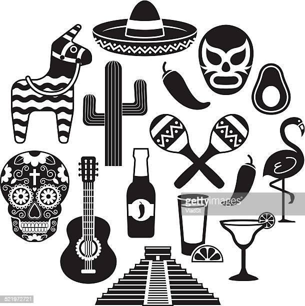 icons of mexico - sombrero stock illustrations