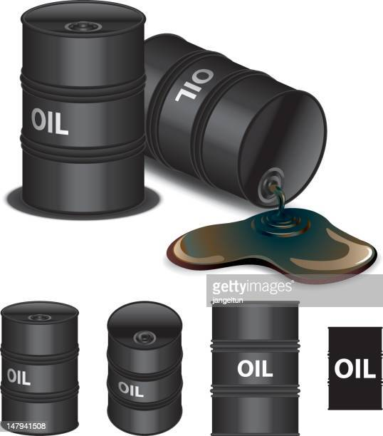icons of multiple oil barrels different sizes - oil drum stock illustrations, clip art, cartoons, & icons