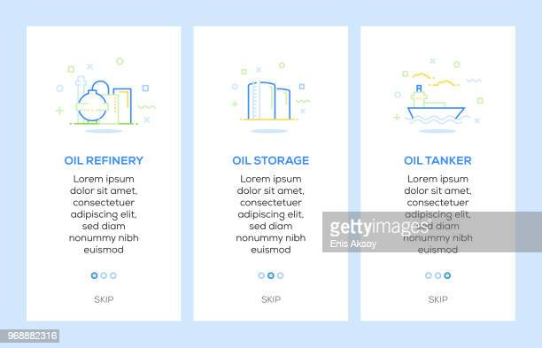 icons of oil refinery, oil storage, oil tanker. oil industry concept web elements - petrochemical plant stock illustrations, clip art, cartoons, & icons