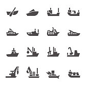 Icons of passenger and industrial ships in glyph style