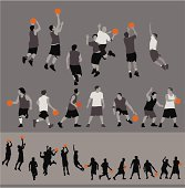 Icons of people performing basketball actions