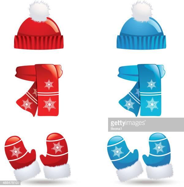 illustrazioni stock, clip art, cartoni animati e icone di tendenza di abbigliamento invernali - sciarpa