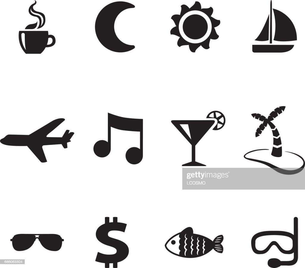 Icons of tourism and travel or holidays. Ideal for institutional materials and training and tourism