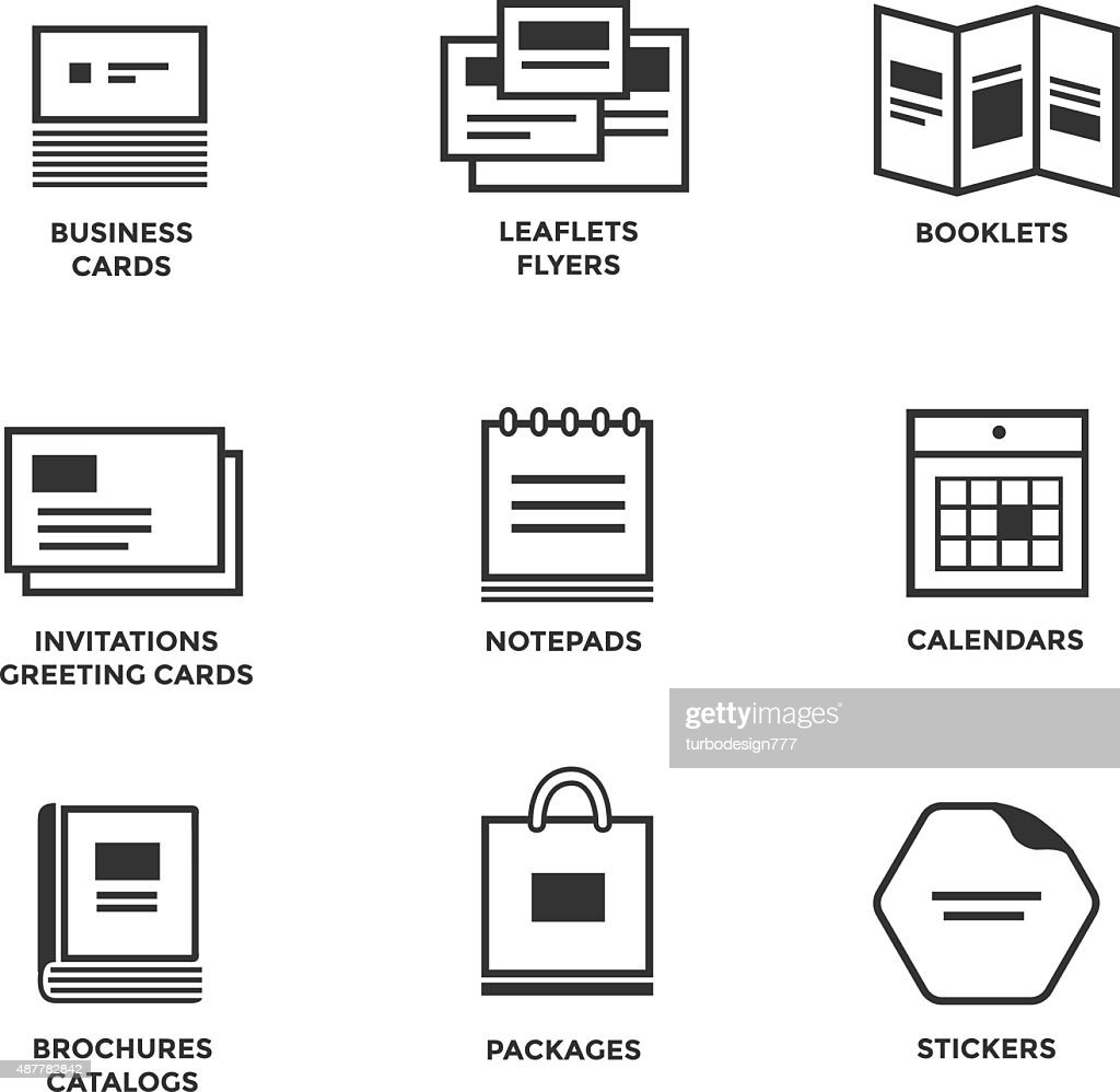 Icons of various print media