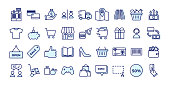 Icons related with commerce, shops, shopping malls, retail. Vector illustration filled outline design set