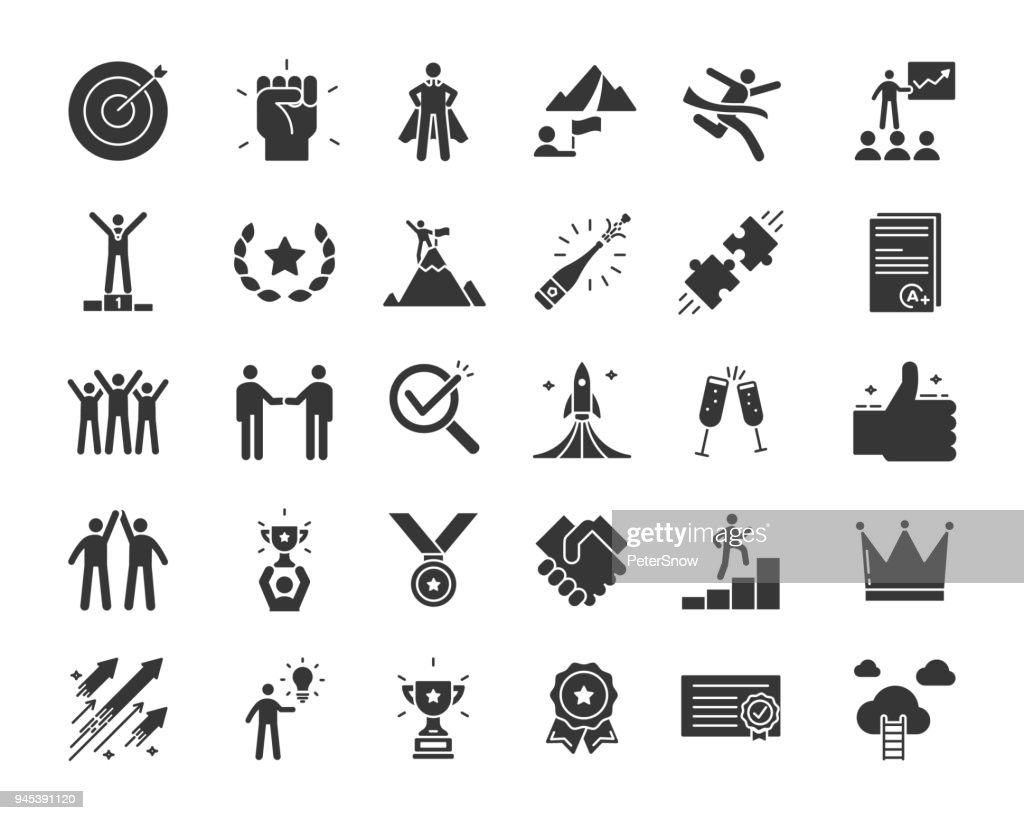 Icons related with success, motivation, willpower, leadership, determination, effectiveness and growth. Vector pictogram thematic set in glyph style. Objects and dynamic character actions