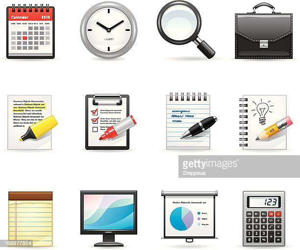 icons representing an office and business - to do list stock illustrations