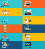 Icons set banners for business presenteshion