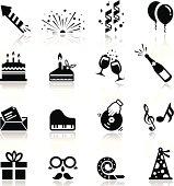 Icons set Birthday and celebration