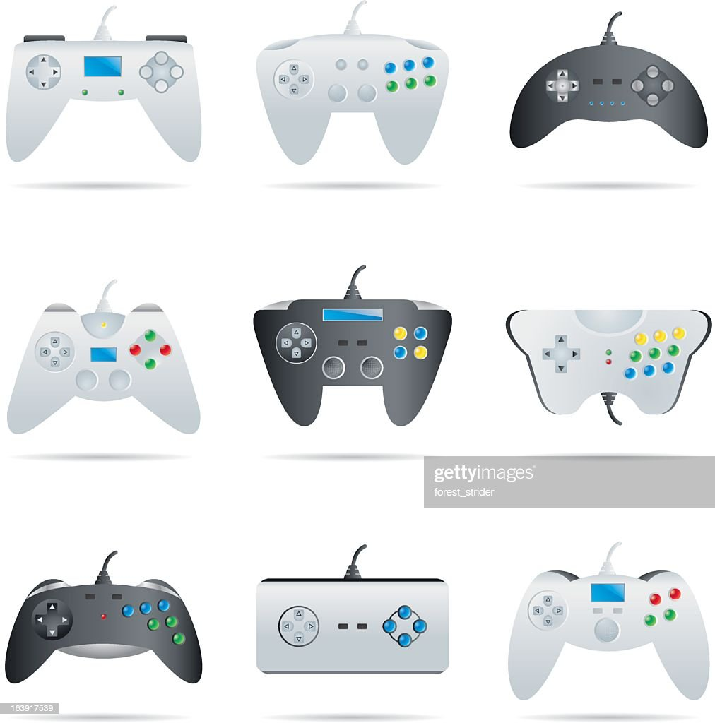 Icons set gamepads and controllers