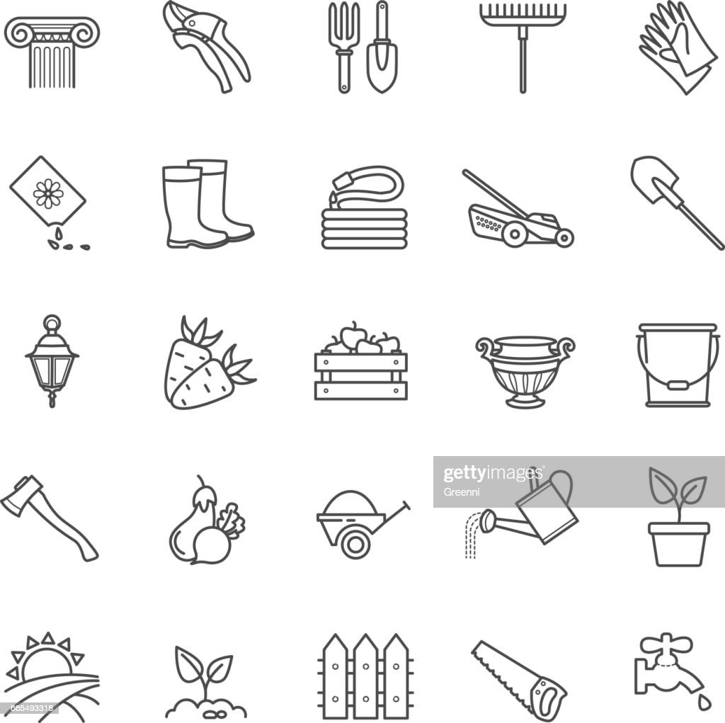 Icons set - gardening, tools, flowers,vegetables