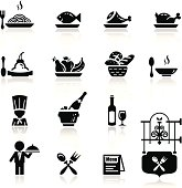 Icons set in black restaurant theme