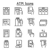 ATM icons set in thin line style