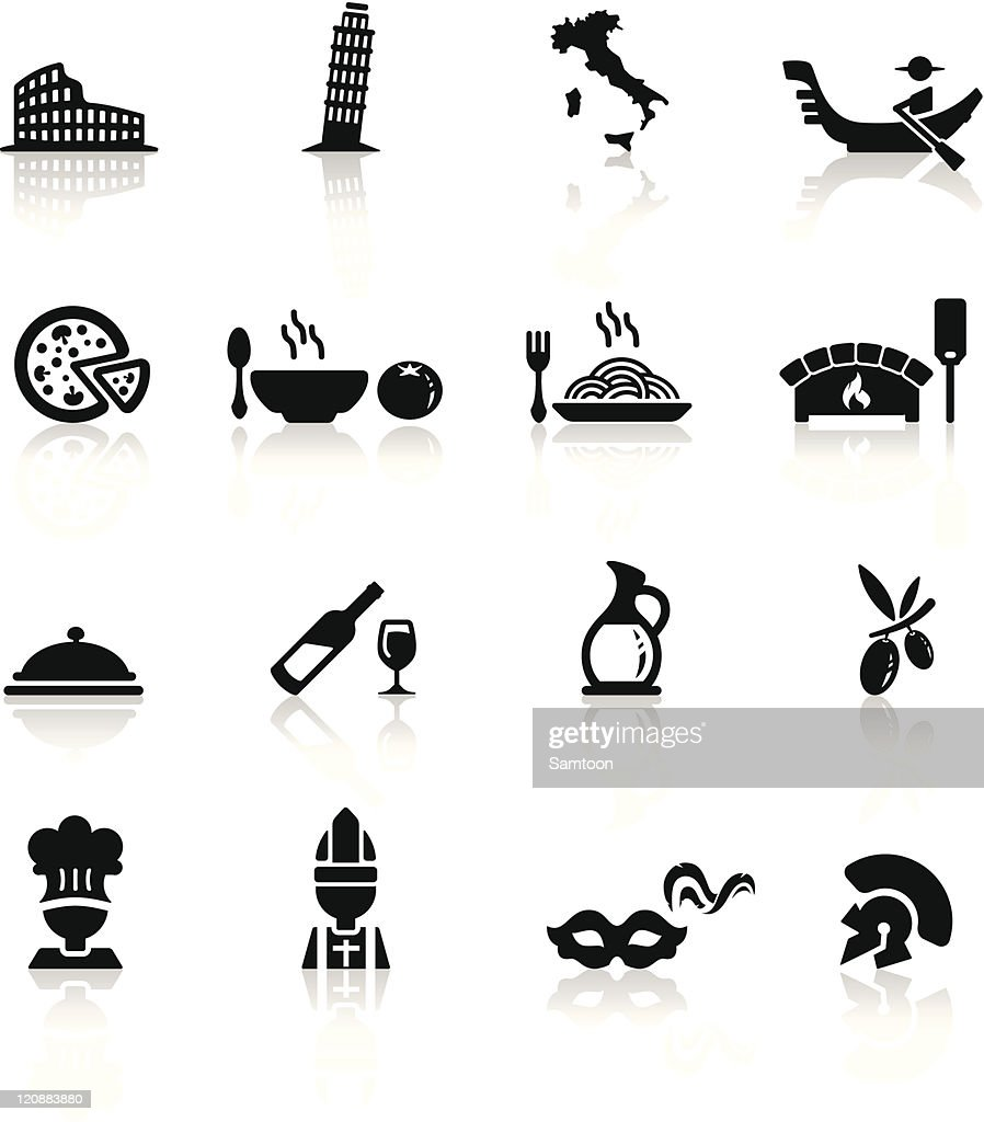 Icons set Italian Cuisine and culture