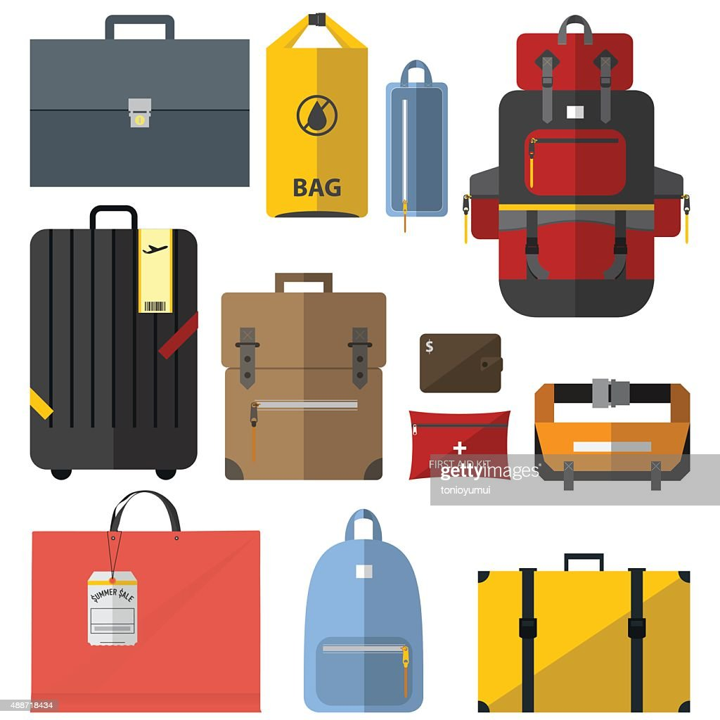 Icons set of bags and suitcases in flat design