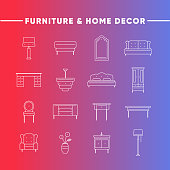 icons set of furniture and home decor