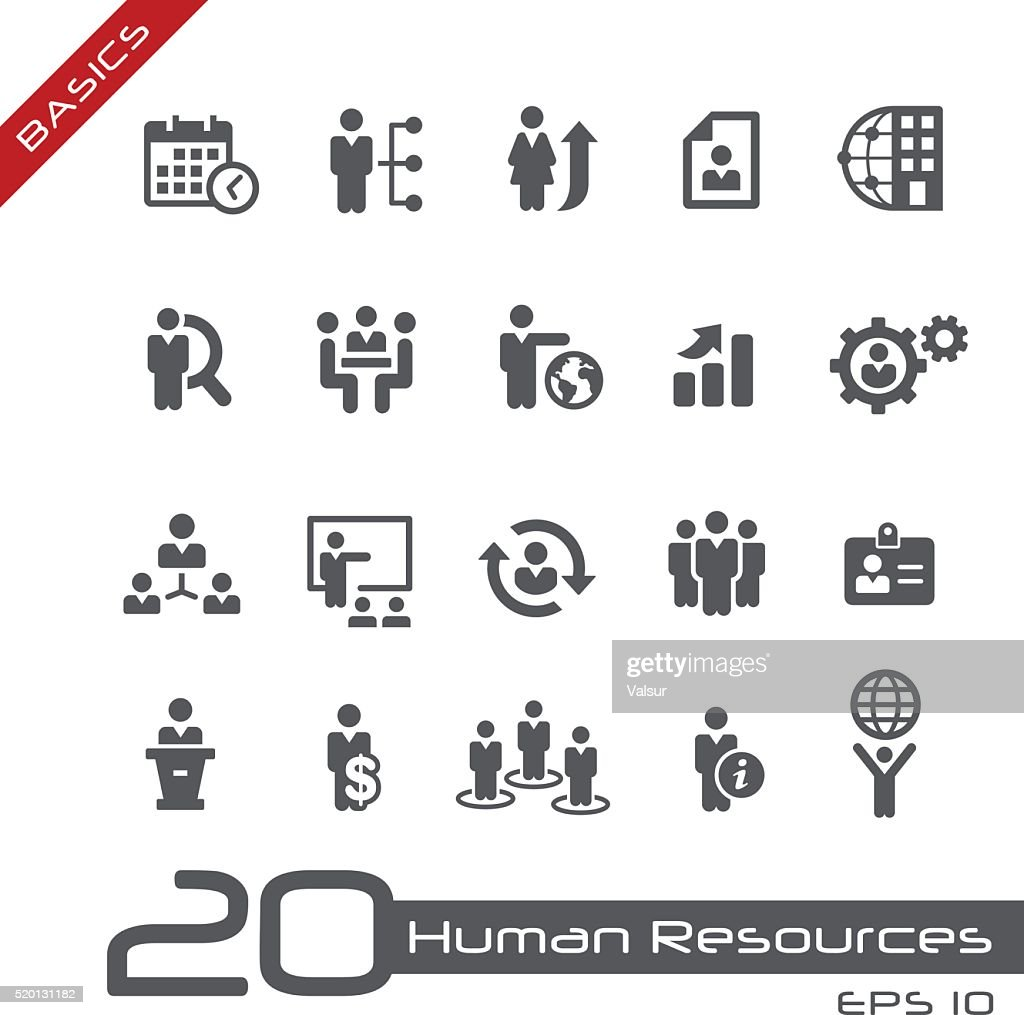 Icons Set of Human Resources and Business Management - Basics