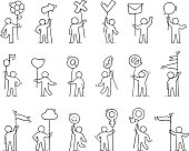 icons set of sketch little people with life symbols