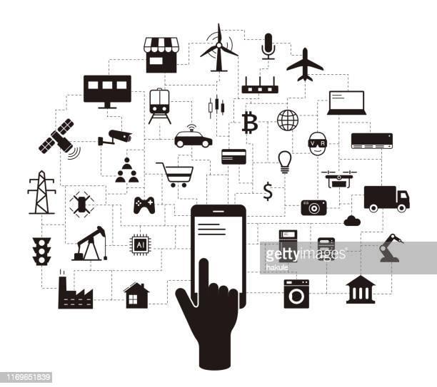 ilustraciones, imágenes clip art, dibujos animados e iconos de stock de conjunto de iconos iot, concepto de sistema operativo del futuro. - sistema operativo