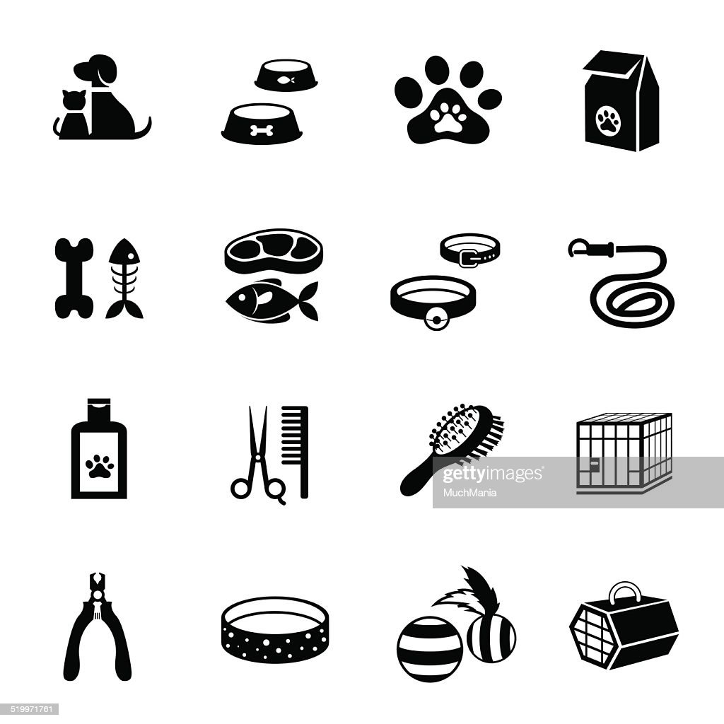B&W icons set : Pet, Cat & Dog Object