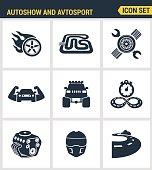 Icons set premium quality of autoshow and avtosport monster truck