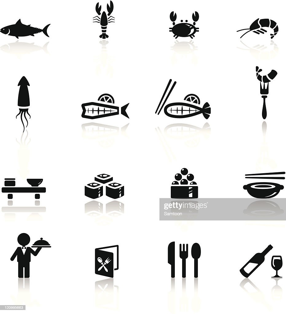 Icons set sea food