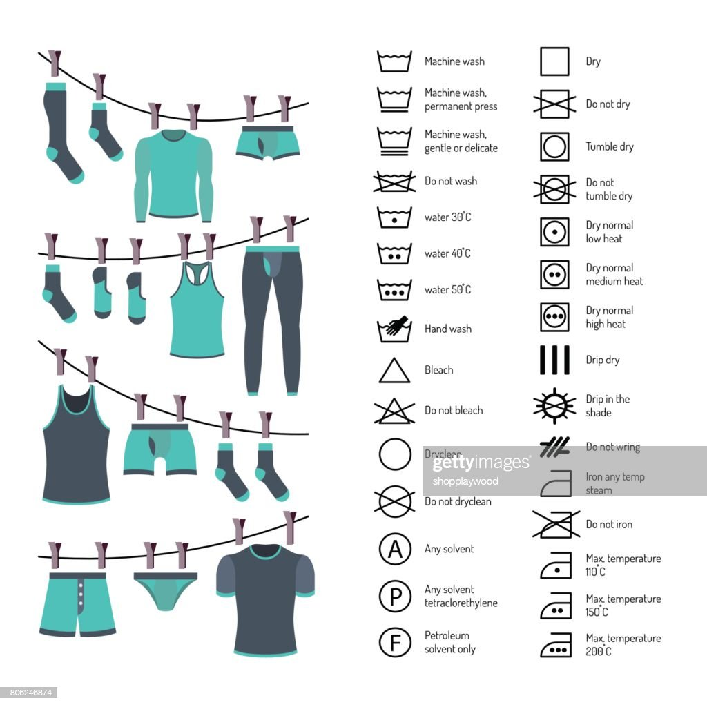 Icons set washing clothes