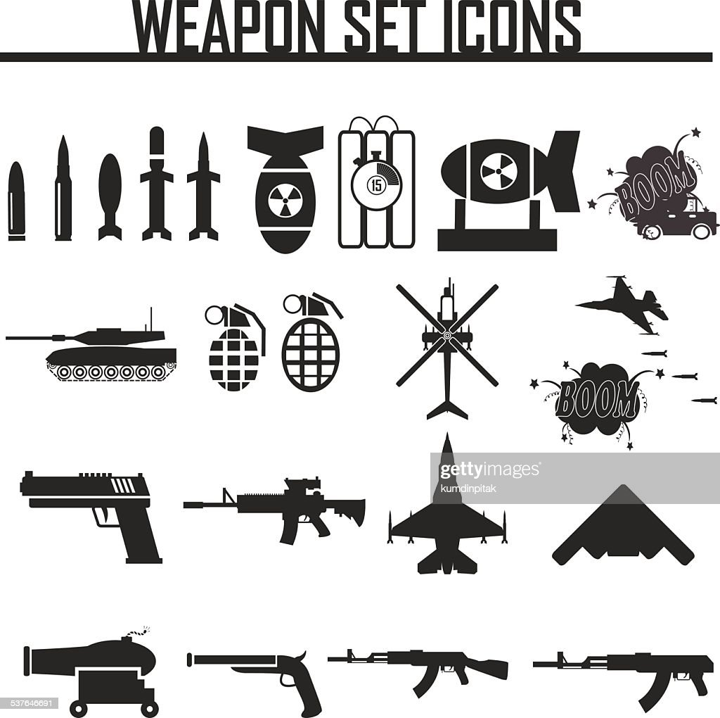 Icons set weapons, vector illustration